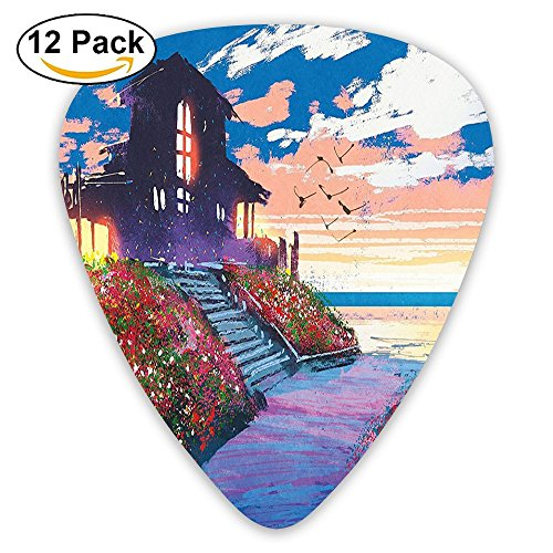 Newfood Ss Cottage Beach House At Seascape Floral Garden With Gulls Skyline Scene Guitar Picks 12/Pack - Customized Promotional Clothing