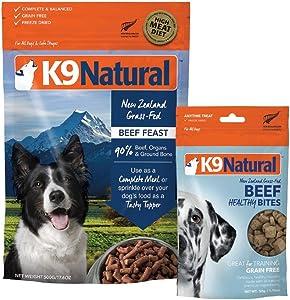 K9 Natural Grain-Free Dog Beef Food or Topper 17.6oz and Beef Bites 1.7oz Bundle