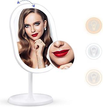 Miroir de Maquillage de Charge de Batterie d/écran Tactile de Rotation de 180 Degr/és en ABS blanc 24 LED 10X Grossissant le Miroir Cosm/étique