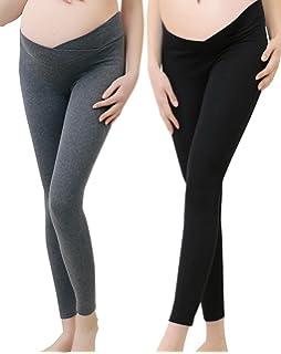 99dbdda2c6328 Vocni Women's Comfortable Maternity Cotton Leggings Full Length Pregnancy  Maternity Leggings