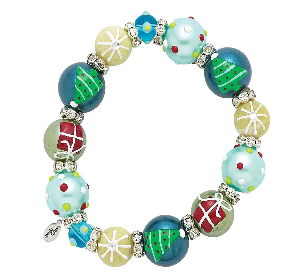 Kate & Macy Gift for Christmas Holiday Glass Bead Stretch Bracelet