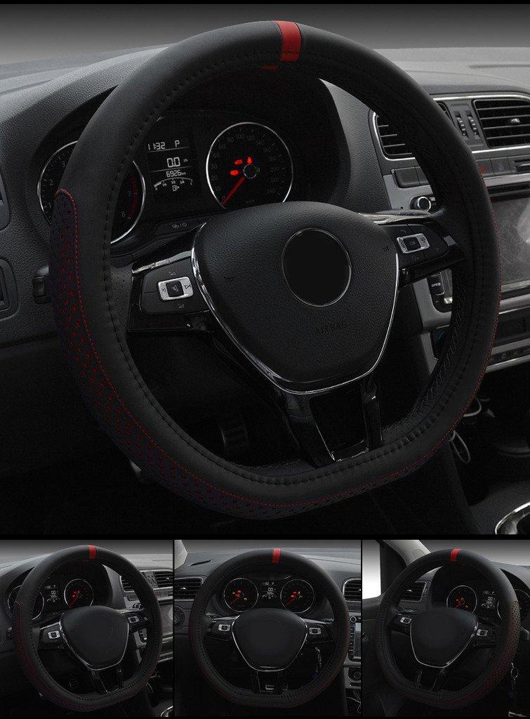 XuanMax Universal D Forma Funda de Volante Coche Cuero Microfibra Respirable Cubre Volante Piel Vehiculo Cubierta del Volante Envoltura Protectora ...