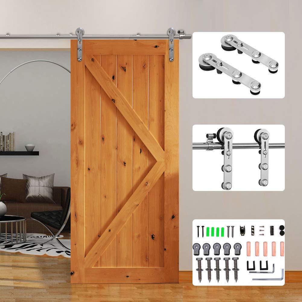 5FT//152cm Acciaio Inossidabile Binario Rulli per Porta Scorrevole Kit Accessori per porta singola hardware Track Kit