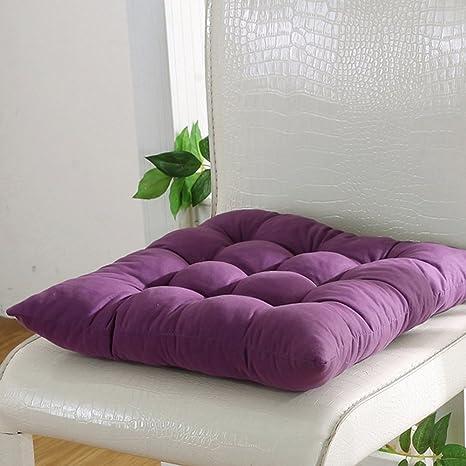 Cojín para silla de interior y exterior, mimbre macizo, cojines para silla de cocina, jardín, comedor, 35 x 34 cm, cojín para silla 40cm by 40cm Dark ...