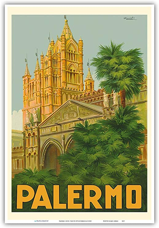 Sicilia europe Italy Vintage painting  Travel Poster Print art  large canvas