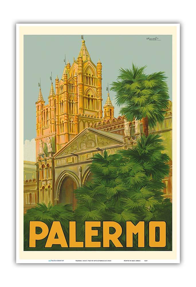 -Vintage World Travel Poster di Attilio Ravaglia c.1930s-Stampa Master arte-9inx12in Italia-Duomo Sicilia Cattedrale Pacifica Island Art Palermo