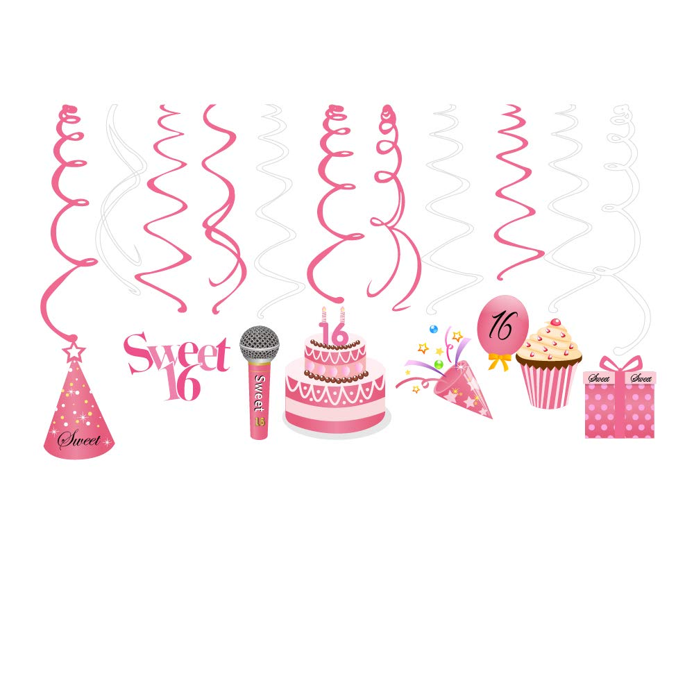 CC HOME 16th Birthday Party Decorations Sweet Sixteen Happy Birthday Banner Bunting Garland Decorations Sweet 16 Party Supplies,Milestone Happy Birthday Decorations