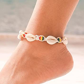 Simsly Shell Anklet Ankle Bracelet Beaded Woven Accessories Foot