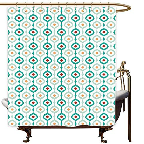 SKDSArts Shower Curtains White Gray Ikat,Pastel Colored Chain Ikat Vertical Pattern Abstract Ogee Shapes Retro Old Fashioned,Multicolor,W60 x L72,Shower Curtain for Men