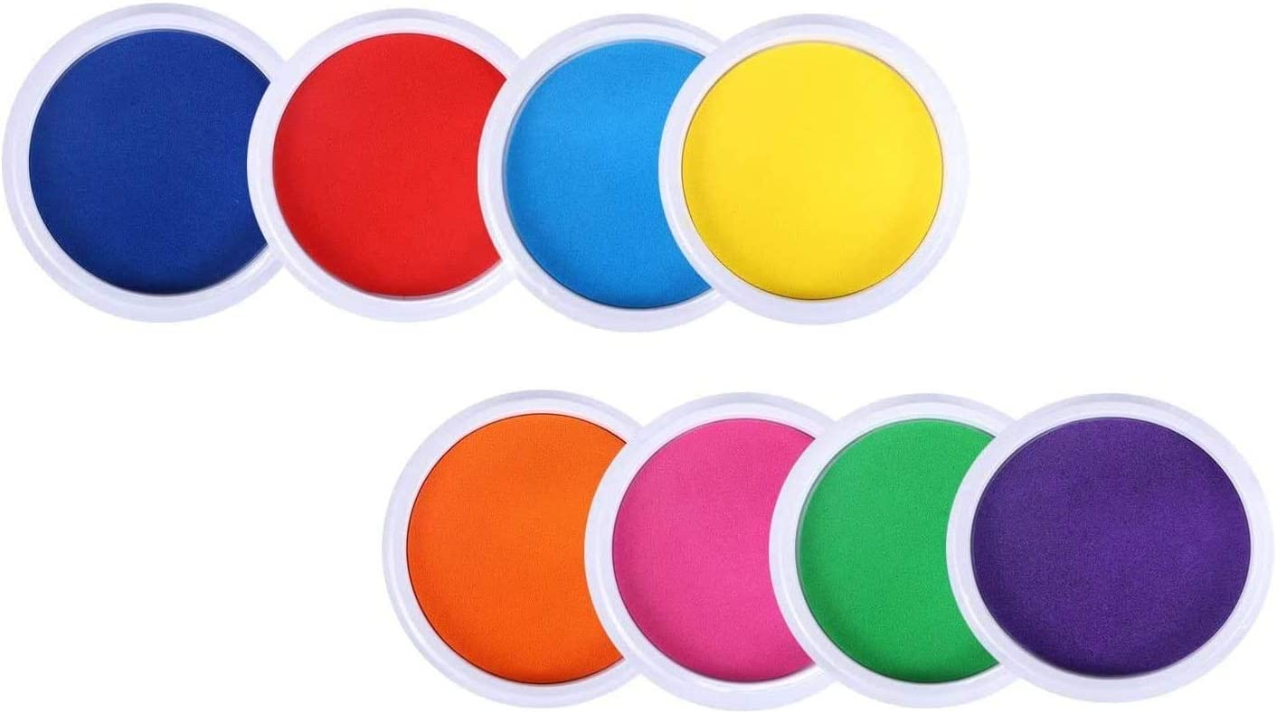 MoloTAR 8 Colors Rainbow Washable Large Ink Pads for Rubber Stamps Kids (Pack of 8)