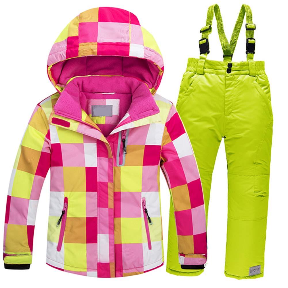 Rose Rouge + Vert 9-10ans 140cm YFCH Enfants Pantalon Sports d'Hiver Imperméable avec Bretelles Combinaison de Ski Imperméable de plein air Veste de Snowboard avec Salopette