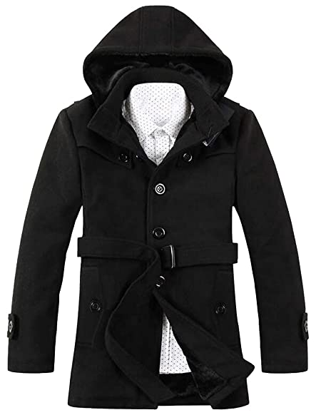 SYTX Mens Winter Overcoat Faux Fur Belted Hooded Long Pea Coat at ...
