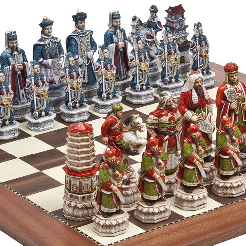 Great Wall of China Luxury Chessmen from Italy & Astor Place Chess Board Giant Size: King 5 3/4