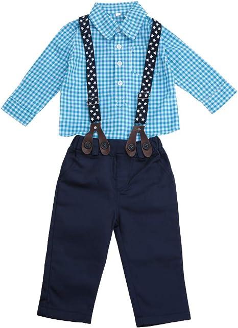 Juegos De Ropa Para Bebés Niños Trajes De Caballero Para Niños Pequeños Trajes Camisa a Cuadros De Manga Larga + Pantalones De Liga(70CM): Amazon.es: Bebé
