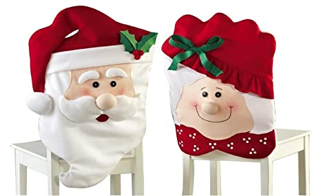 Mr Mrs Santa Claus Christmas Kitchen Chair Covers