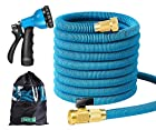 Garden Hose Expandable Water Hose 50FT Triple Latex Core 3/4 Brass Fitting 8
