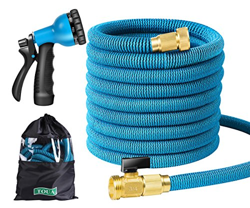 Garden Hose Expandable Water Hose 50FT Triple Latex Core 3/4 Brass Fitting 8 Function Spray Nozzle