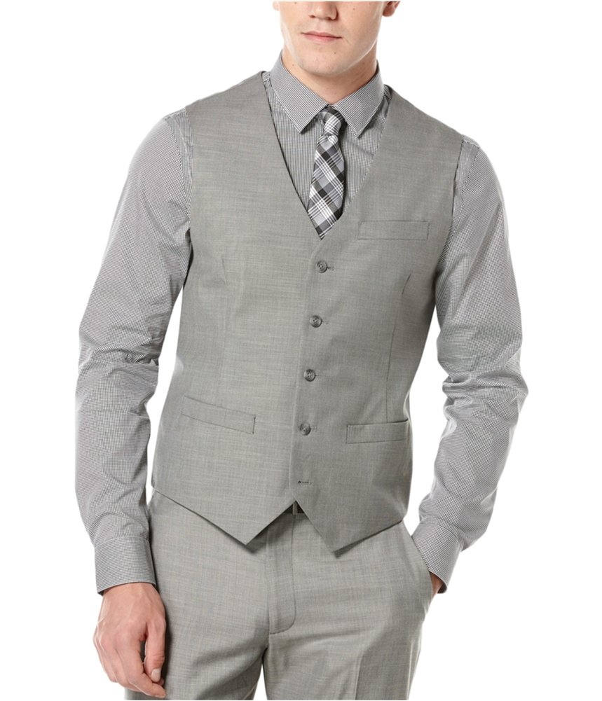 Perry Ellis Men's Solid Texture Suit Vest, Brushed Nickel, XX-Large