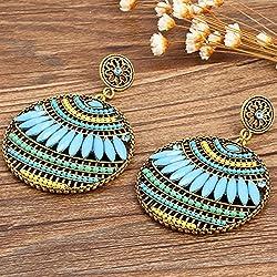 Money coming shop Colorful Ethnic Boho Bohemian Earrings Round Temperament Joker Indian Earrings For Women Fine Jewelry 8669