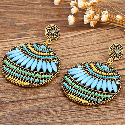 Money coming shop Colorful Ethnic Boho Bohemian Earrings Round Temperament Joker Indian Earrings For Women Fine Jewelry 8669
