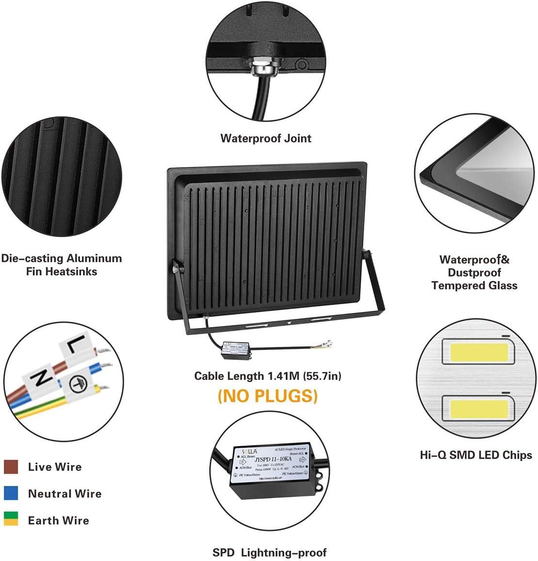 SOLLA Luz de Inundación de 400W LED,Luz de Seguridad para ...