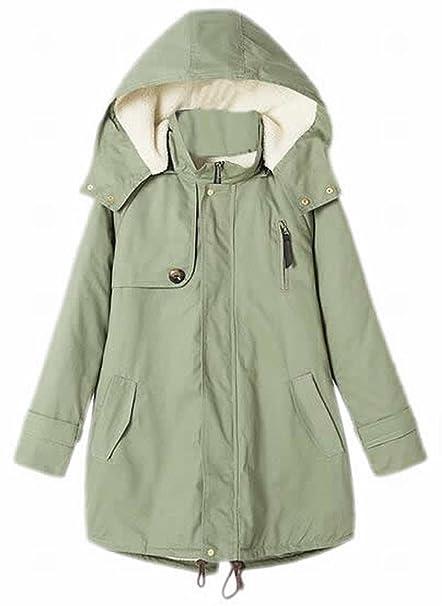 papijam - Cazadora acolchada sudadera con capucha con forro de pelo sintético para mujer Parka abrigo: Amazon.es: Ropa y accesorios