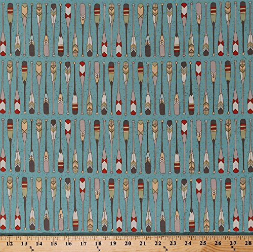 Cotton Oars Paddles Canoeing Camping Vacation Southwest Quilt Minnesota 2016 Shop Hop Light Teal Cotton Fabric Print By The Yard  Y1987 103 Lightteal