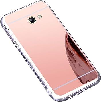 Surakey Funda Galaxy J7 Prime,Carcasa Protectora [Trasera] de [TPU] para Móvil En [con Efecto Espejo] Ultra-Delgado Caras Cubierta Caso Espejo Funda Case Cover para Samsung Galaxy J7 Prime,Oro Rosa: Amazon.es: Electrónica