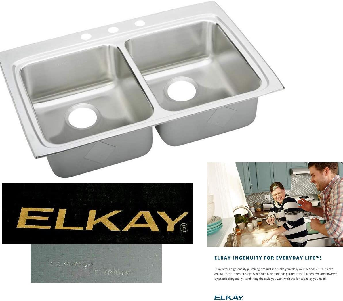 Elkay Celebrity 43 x 22 INCH Stainless Steel Double Equal Bowl-In 3-Hole 20-gauge Kitchen Sink