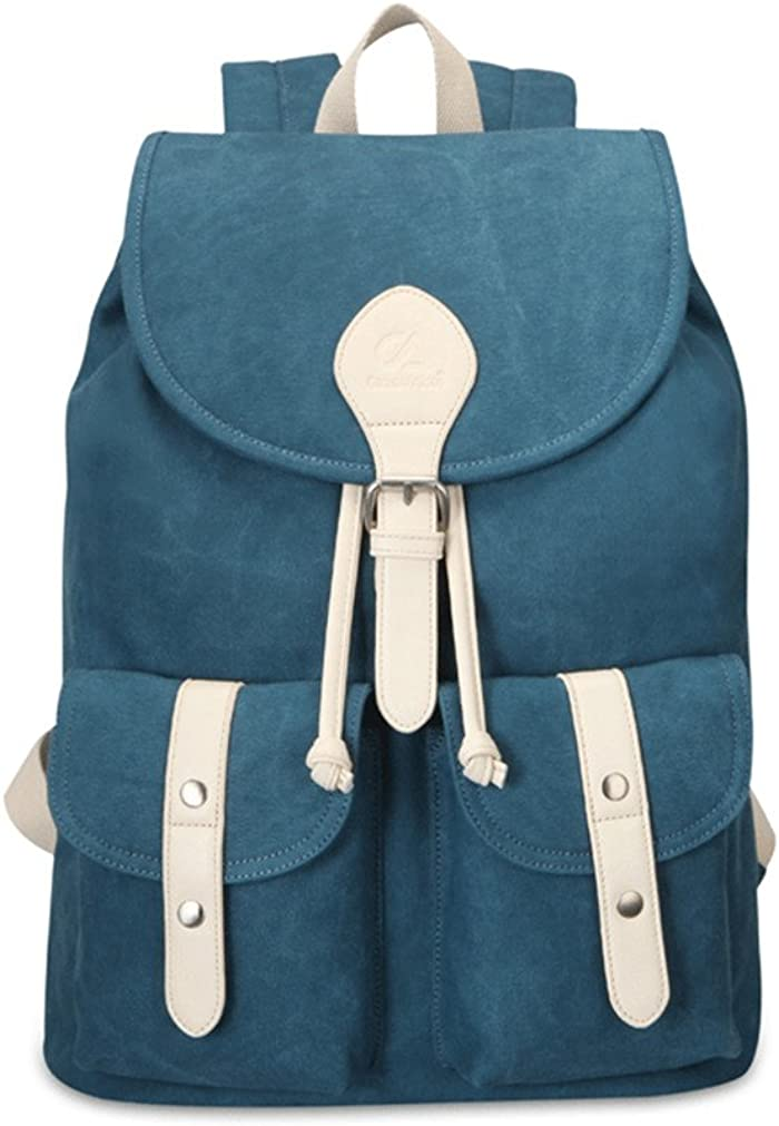 JustsoLe Womens Girls Casual Drawstring Canvas Backpacks School Outdoor Travel