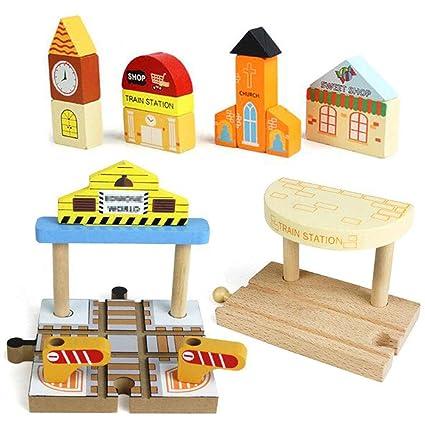 Amazon.com: OrgMemory Juego de pistas de madera para tren ...