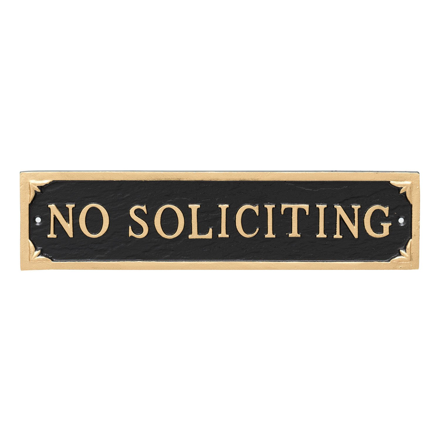 Montague Metal Products No Soliciting Statement Plaque Sign, Black with Gold Lettering, 11'' x 2.75
