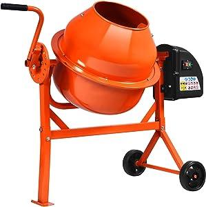 Electric Wheelbarrow Mixer for Cement Concrete Mortar, 2 1/4 Cu.Ft Concrete Mixer Machine with Stand, Garden Cement Mixing Machine with Steel Drum (Orange)
