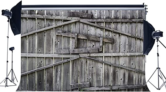 RBabyPhoto Old Barn Backdrop 10X7FT Rural Nostalgia Wood Barn Door Stripes Wooden Plank Green Grass Field West Cowboy Photography Background for Kids Adults Photo Studio Props Vinyl CK463