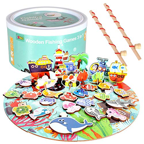 (Lewo Fishing Game Wooden Magnetic Puzzles with Wood Ocean Animal Magnets and 2 Poles for Kids Toddlers (Multicolorful))