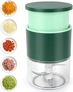Manual Mini Garlic Chopper, Hand-Pressing Mincer Grinder, Kitchen Portable Vegetable Chopper, Food Processor for Pepper, Chili, Meat, Nuts and Salad (310 ml)