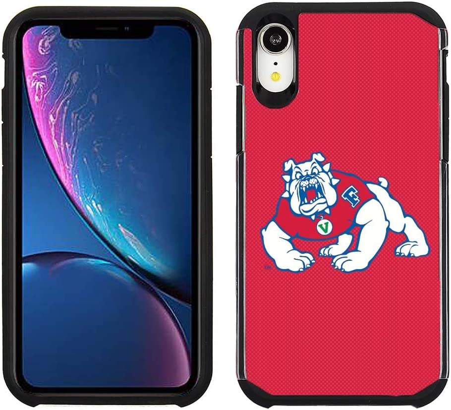 Prime Brands Group Cell Phone Case for Apple iPhone XR - Red/Black - NCAA Licensed Case for Fresno State Bulldogs