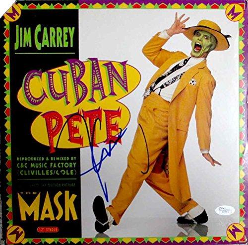 נפלאות Jim Carrey Mask 'Cuban Pete' Signed Record Album LP Certified KE-13