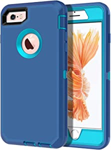 I-HONVA for iPhone 6s Case, iPhone 6 Case Built-in Screen Protector Shockproof Dust/Drop Proof 3-Layer Full Body Protection Heavy Duty Durable Cover Case for Apple iPhone 6/6s 4.7-inch, Turquoise
