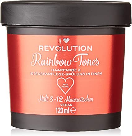 I Heart Revolution Rainbow Tones Red Flame – Tinte semipermanente para el cabello y cuidado en uno – lavable con 8 – 12 lavados – vegano, reutilizable ...