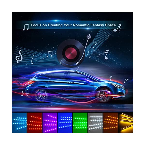Car LED Strip Light Wsiiroon 4pcs 48 LED Multicolor Music Car Interior Lights Under Dash Lighting Waterproof Kit With Sound Active Function And Wireless Remote Control Car Charger IncludedDC 12V