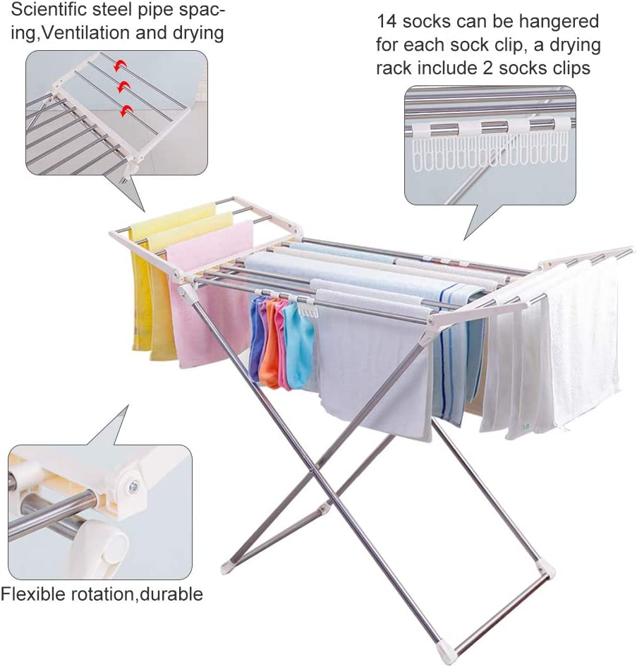 Amazon.com: BAOYOUNI Clothes Drying Rack Collapsible Lightweight Laundry  Dryer Hanger Shelf with Socks Clips for Bathroom, Indoor, Balcony, Yard and  Outdoor Use: Home & Kitchen