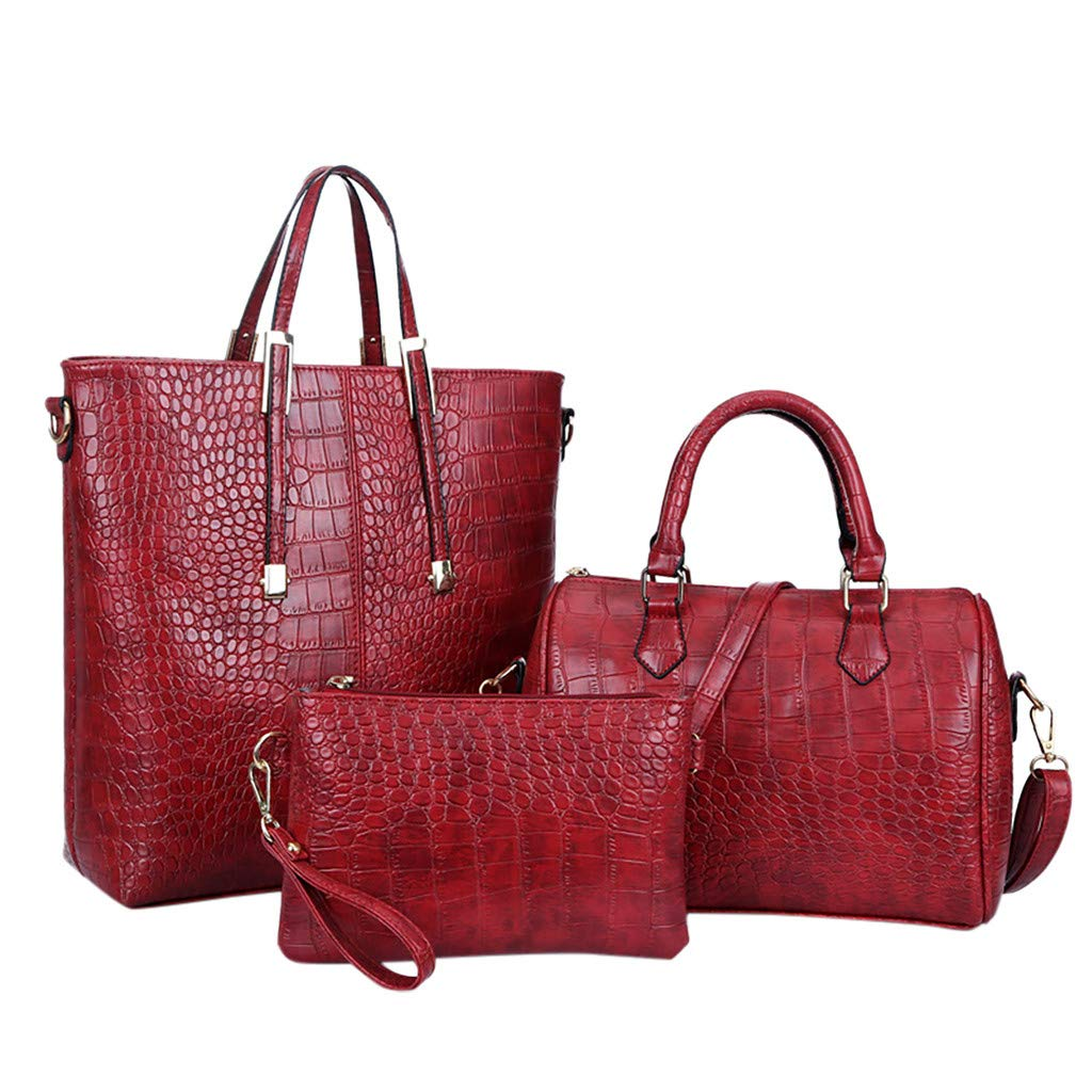 Gogoodgo Women Fashion Crocodile Pattern PU Leather Handbag+Shoulder Bag+Purse 3pcs Set Tote Handbag Red
