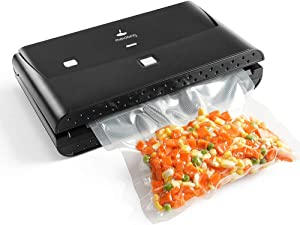 Vacuum Sealer Machine, Automatic Food Sealing for Dry & Moist Food Preservation with Led Indicator Lights, Compact Design, Full Starter Kit, Vacuuming & Sealing Modes (Black)