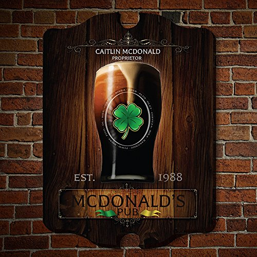 Pub Decor - HomeWetBar Failte Irish Pub Personalized Wooden Sign (Customizable Product)