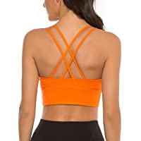 nine bull Womens Strappy Sports Bra - Longline Crossback Padded Medium Support Yoga Bra Top