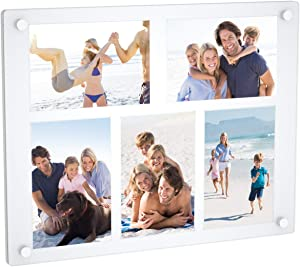 NIUBEE 5 Opening 4x6 Collage Picture Frame, Acrylic Wall Hanging and Desktop Photo Display with Mat (White)
