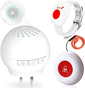 CallToU Caregiver Pager Call Button,Medical Alert System, Nurse Alert System for Home Disabled Elderly Seniors Patient,1 Receiver + 2 SOS Transmitter
