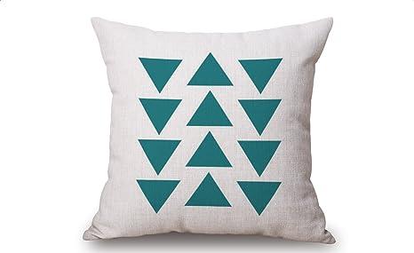 nikgic Lino Algodón Funda de cojín triángulos almohada cojín decorativo caso Cojín Caso sofá cojín cubierta tres triángulos Patrón de 45 x 45 cm, ...