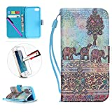 iPhone 5C Case,ISADENSER Creative Painted PU Leather Case for iPhone 5C ,Flip Wallet Holder Protective Case with Card Slots for iPhone 5C-Gray Elephant